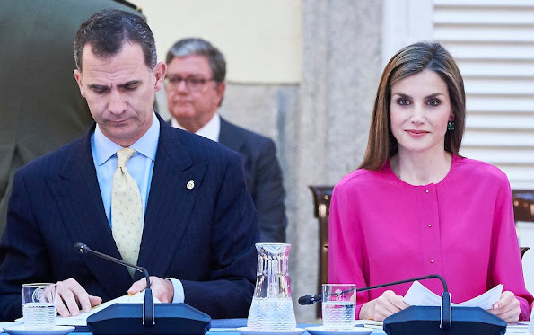 King Felipe and Queen Letizia attend a meeting Boards of Trustees of the Princess of Asturias Foundation Letizia wore UTERQUE Nappa Trousers PRADA Toe Pump
