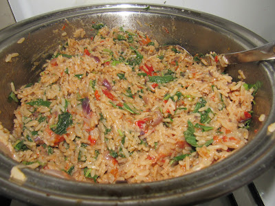 Cooking coconut rice with tomatoes and vegetables step by step 013