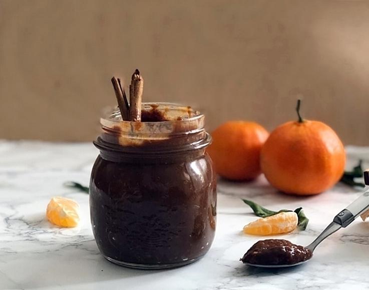 Mermelada de mandarina con chocolate y canela