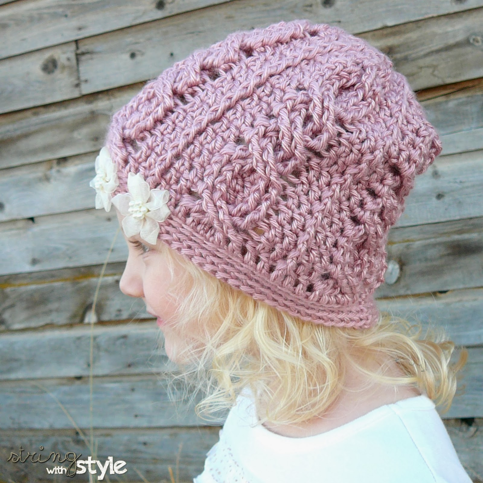 Crochet Slouch Hat: String With Style: Cabled Cutie Slouch