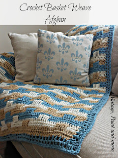 Vintage, Paint and more... stenciled pillow made from drop cloth with a crochet baset weave afghan