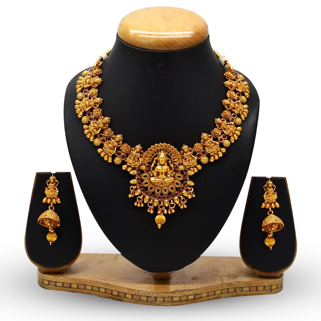 Kollam Supreme Premium Fashion Jewellery Buy Classic Chettinad Kemp Lakshmi Necklace Set Online Kollamsupreme
