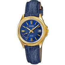 Ceas femei Casio LTP LTP-E115GBL-2AVDF auriu cu albastru