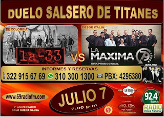 DUELO SALSERO: Concierto de LA 33 Vs. La Máxima 79