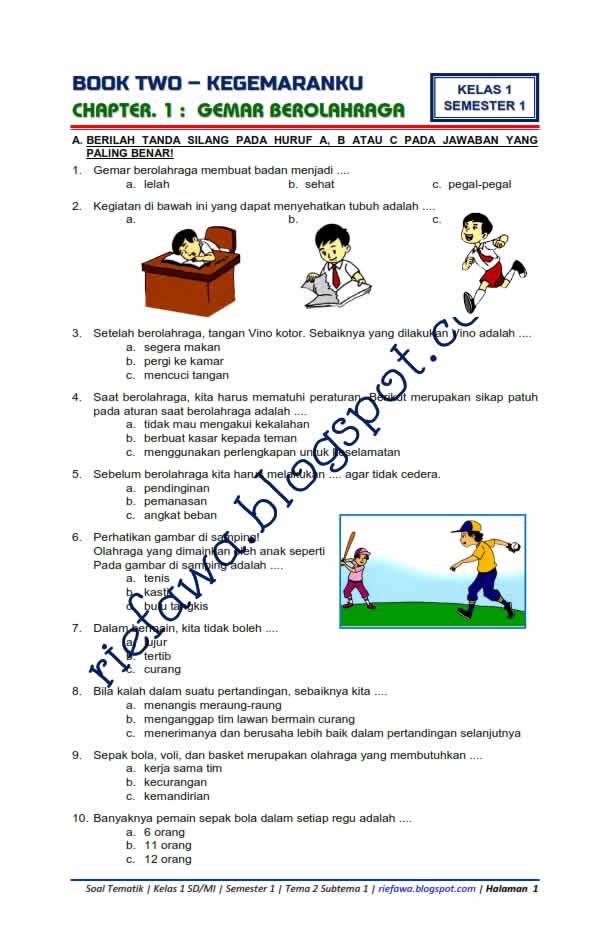 Soal Tematik Semester 2 Kelas 1,2,4,5 Tema 6,7,8,9   Soal Tematik...