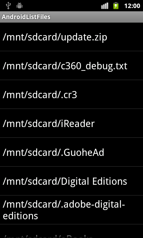 Android Coding: List files/directory in Android