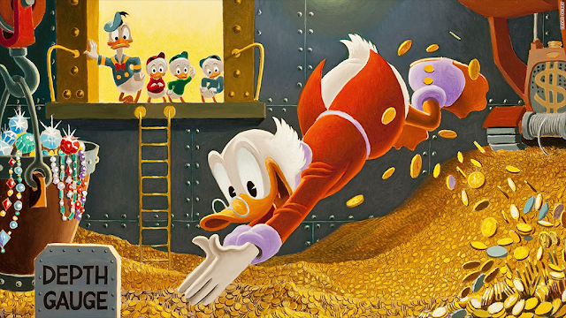 Scrooge McDuck swimming in money.