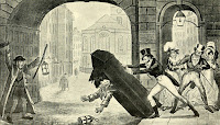 Tom getting the best of a Charley by George Cruikshank (1820) from The man of pleasure by R Nevill (1913)