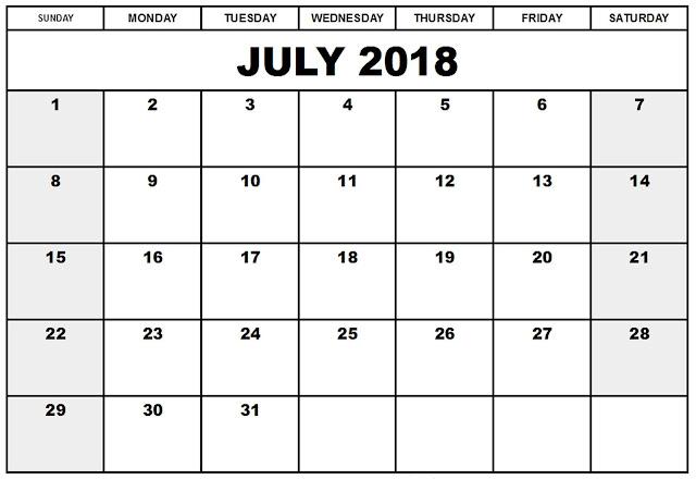 July 2018 calendar A4