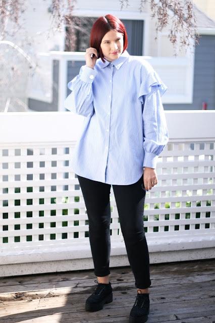 OOTD, blue oversized shirt, denim, womens fashion, fashion blogger