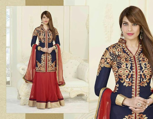 BIPASHA IN BLUE AND RED PARTY WEAR DESIGNER DRESS