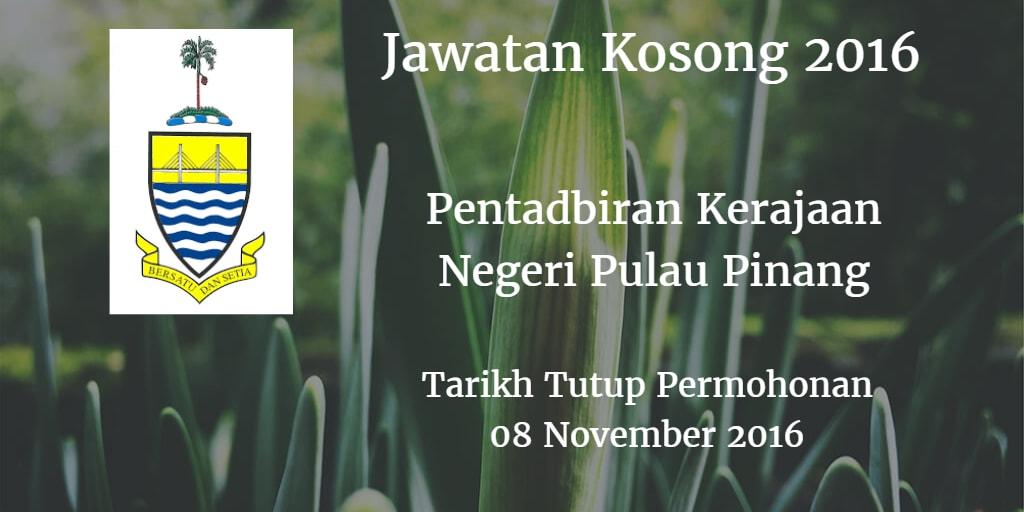 Jawatan Kosong Pentadbiran Kerajaan Negeri Pulau Pinang 08 November 2016