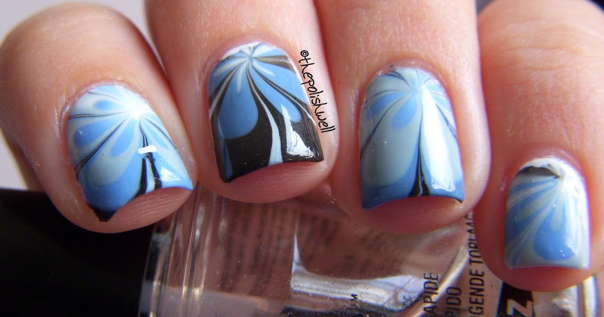 The Polish Well Nail Ideas Floral Water Marble