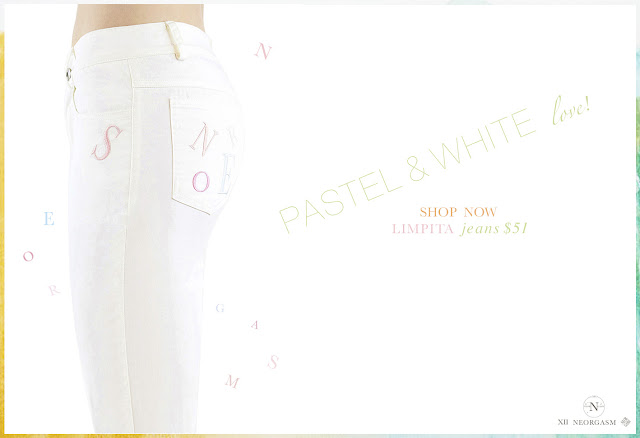 NEORGASM Lipita Jeans / Perfect Summer White Jeans Alphabet Pastel Embroidered Jeans
