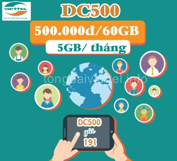 Cách đăng ký gói cước 3G DC500 Viettel data khủng: