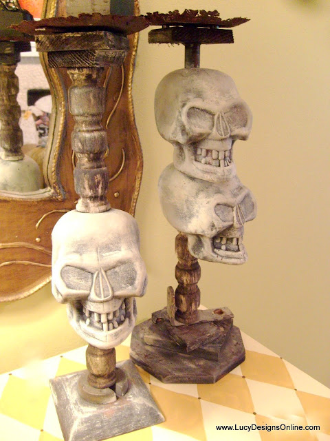 diy dollar store Halloween skull decoration candlesticks