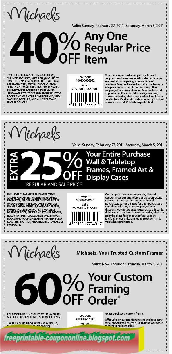 Michaels coupon april 2018