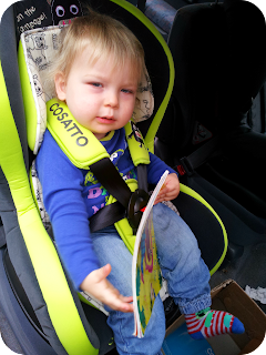 little monster, cosatto car seat, 14 month old in stage 1 car seat