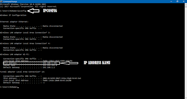 cara melihat ip address menggunakan perintah command prompt