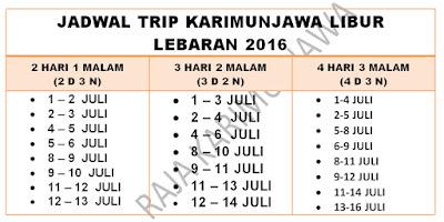jadwal Paket Lebaran Karimunjawa 2016