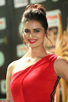 Meenakshi Dixit in Red One Shoulder Red Zipped up gown at IIFA Utsavam Awards014.JPG