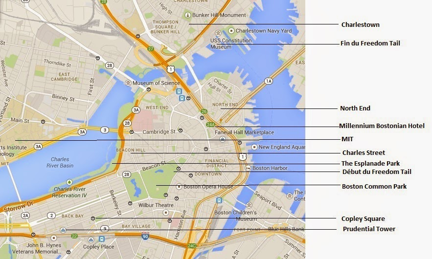 Carte Du Centre De Boston Ref Google Map Avec Quelques Indications Utiles