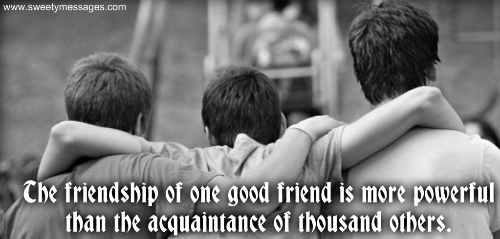 The Friendship Of One Good Friend Is More Powerful Than The Acquaintance Of  Thousand Others.