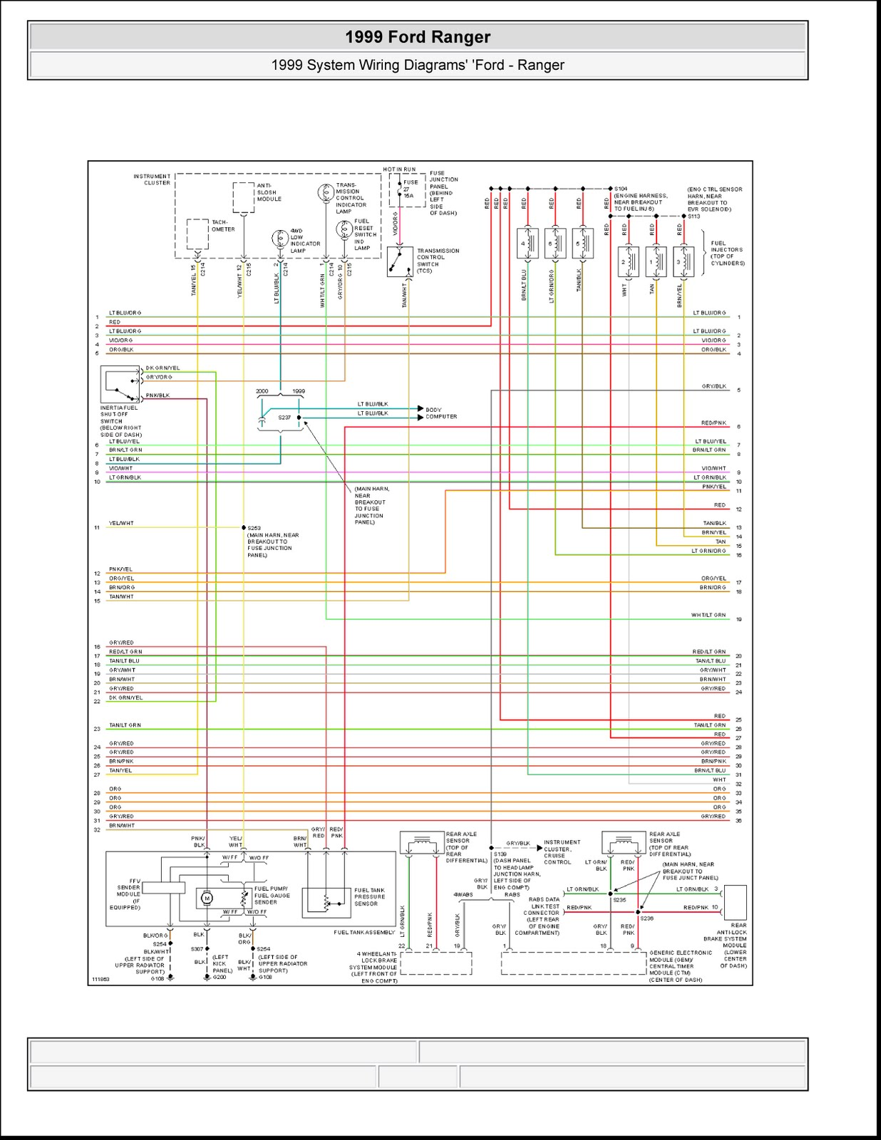 1999 ford ranger system wiring diagrams [ 1236 x 1600 Pixel ]