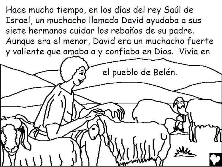 Dibujos Biblicos Para Colorear Del Rey David: Historias Bíblicas Para Colorear: David El Pastor