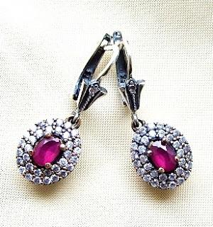 srebrne kolczyki z rubinami vintage prezent na Walentynki kolczyki na ślub