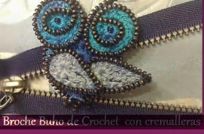 Broche Buho de Crochet con Cremalleras