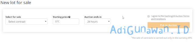 Hashing24 sell mining contract with the auction system