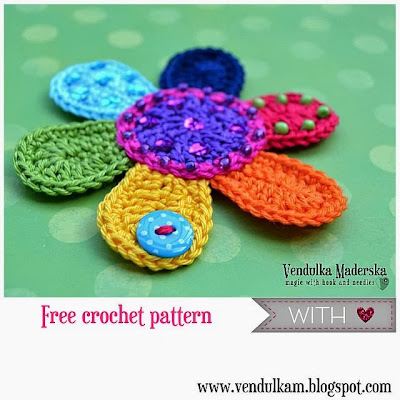 crochet flower applique free pattern