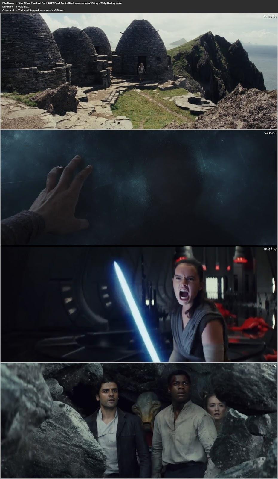 Star Wars The Last Jedi 2017 Dual Audio Hindi BluyRay 720p 1GB at movies500.site