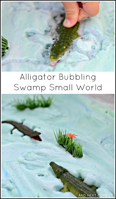 Alligator bubbling swamp small world sensory play for kids from And Next Comes L