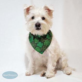 Lucky Irish Shamrocks Green Dog Bandana St Patricks Day