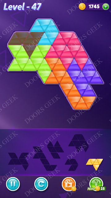 Block! Triangle Puzzle Intermediate Level 47 Solution, Cheats, Walkthrough for Android, iPhone, iPad and iPod