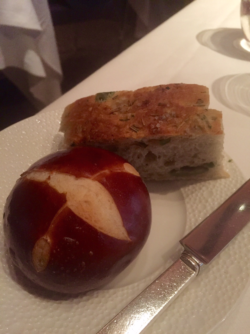 Hungry Panda  Dinner at Le Bernardin in NYC Pretzel roll and foccacia with olives  Two of the incredible breads we  tried  I tried not to OD because there were many bread options
