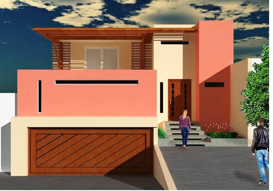 Fachadas De Casas Fantástica Fachada Con Jardín Y Terraza
