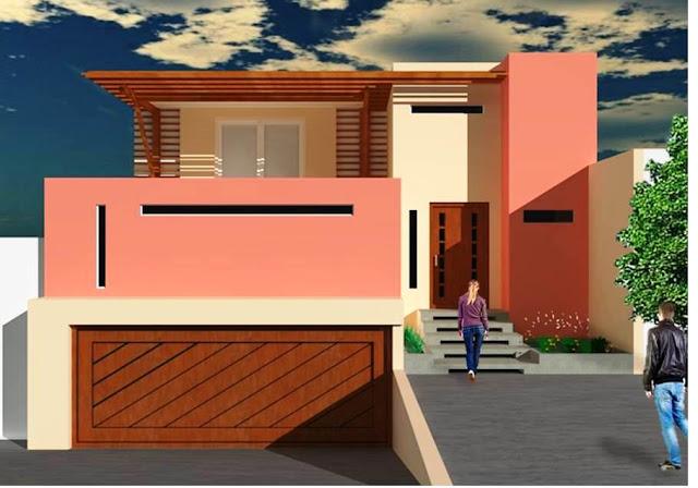Fachadas de casas fant stica fachada con jard n y terraza for Fachadas de casas modernas con terraza