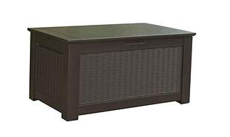 Rubbermaid Rattan 93 Gallon Resin Storage Bench Deck Box, Deck Boxes, Garden Boxes, Garden Storage Box, Garden Storage Boxes, Keter, Lifetime, Plastic Deck Boxes, Plastic Deck Storage Container Box, Plastic garden Storage Box, Rubbermaid, Rubbermaid Deck Boxes,
