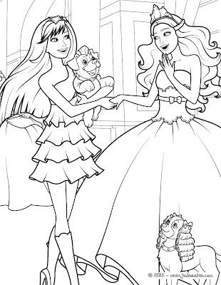 Barbie: Paginas para colorear de Barbie en La Princesa y ...