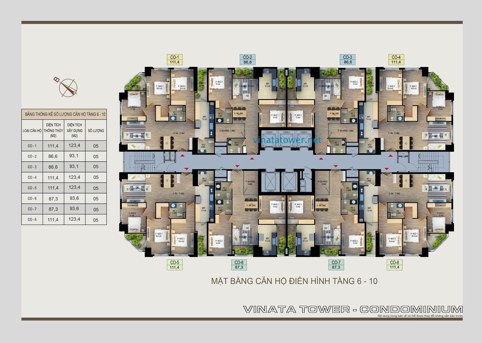 Mặt bằng căn hộ tầng 6 - 10 Vinata Towers