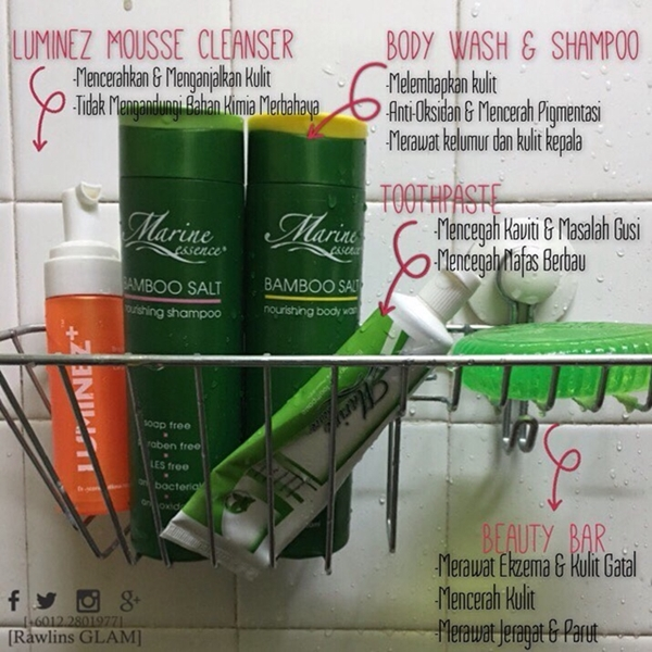 byrawlins, flawless, kulit cantik, luminez brightening mousse cleanser, marine essence, marine essence beauty bar, marine essence body wash, Marine Essence Shampoo, marine essence toothpaste, testimoni,
