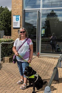 Guide Dog Oakley: Photo to of Mum and me outside the Guide Dogs Reading Mobility Team HQ, Winnersh Triangle, Reading, Berkshire.