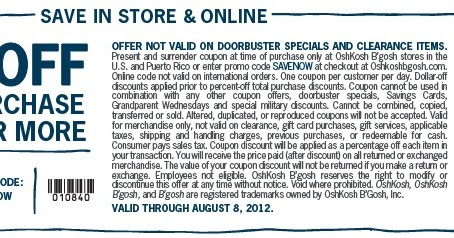 photo about Osh Coupons Printable referred to as Osh kosh bgosh coupon codes printable / My coupon genie inc