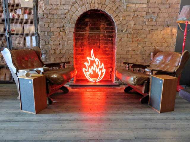 Faux neon fireplace at 200 Degrees Coffee and Barista School in Birmingham England