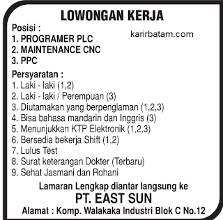 Lowongan Kerja PT. East Sun Batam