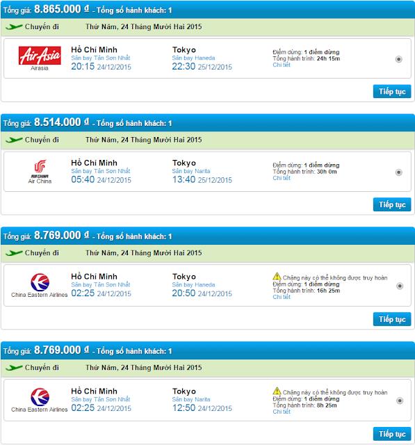 Giá vé máy bay đi Nhật Bản ngày 24-12-2015