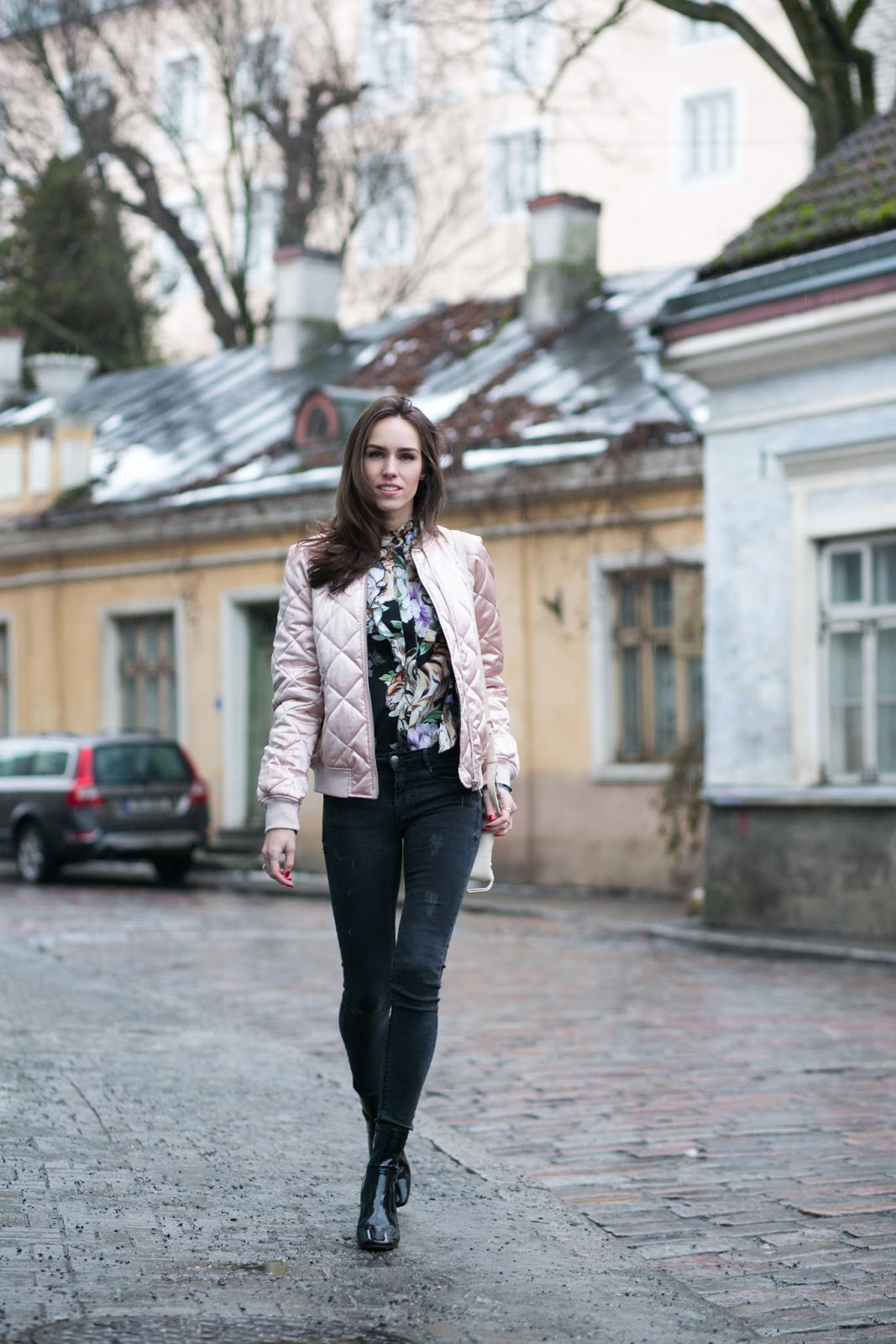 pink bomber jacket winter outfit